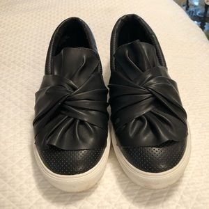 Mia Black Sneakers with ruffle detail 8M